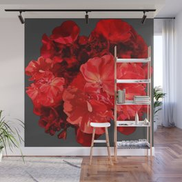 Decorative Red Geraniums On Grey Wall Mural