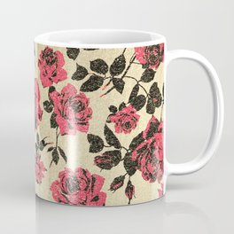 Red Rustic Roses on Faux Gold Coffee Mug