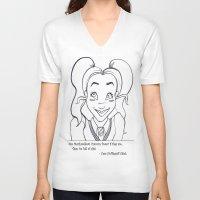 hufflepuff V-neck T-shirts featuring Hufflepuff Chick by ArtRhapsody