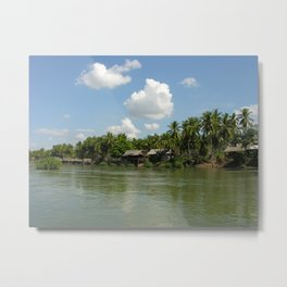 Village in the Tropical Jungle on the Mekong River Metal Print