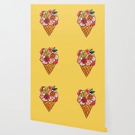 Watercolor - Strawberry Yogurt Ice Cream Cone Wallpaper