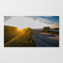 wharariki beach colorful sunset new zealand Canvas Print