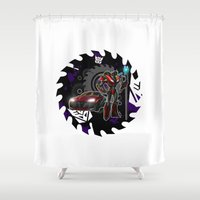 transformers Shower Curtains featuring Transformers He's A KnockOut! by Laserbot