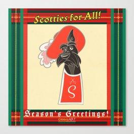 Scotties for All - Seasons greetings Canvas Print