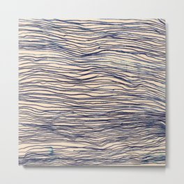 Writer's Block - wavy indigo / navy lines Metal Print