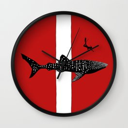 DIVER DOWN - whale shark dive Wall Clock