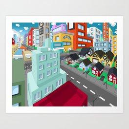 cityscape digtal Art Print