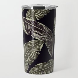 palm leaves black Travel Mug