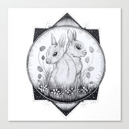 Clover Garden - Black and White Rabbit Drawing Canvas Print