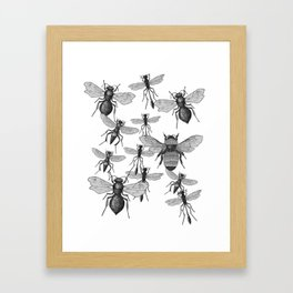 Bees and wasp Flying Framed Art Print