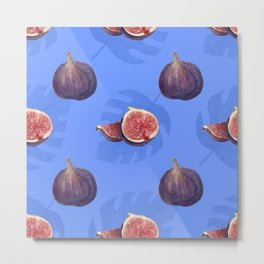 Figs and tropical leaves pattern Metal Print