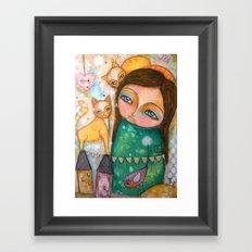 Make a Wish! girl and Kittens Framed Art Print