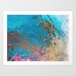 Coral Reef [2]: colorful abstract in blue, teal, gold, and pink Art Print