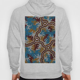 Authentic Aboriginal Art - Wetland Dreaming Hoody