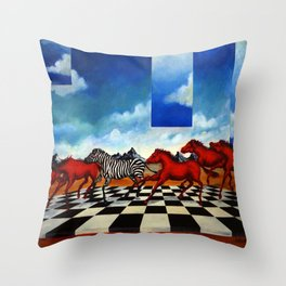 Red Stampede Throw Pillow