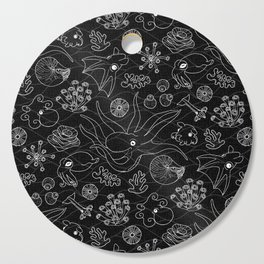Cephalopods - Black and White Cutting Board