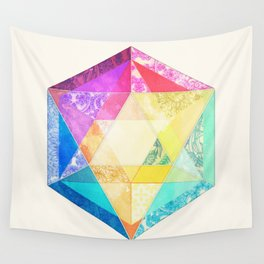 Retro Rainbow Patchwork Hexagon Wall Tapestry