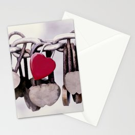 Red Heart Locket Stationery Cards