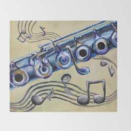 Flute Blues Throw Blanket