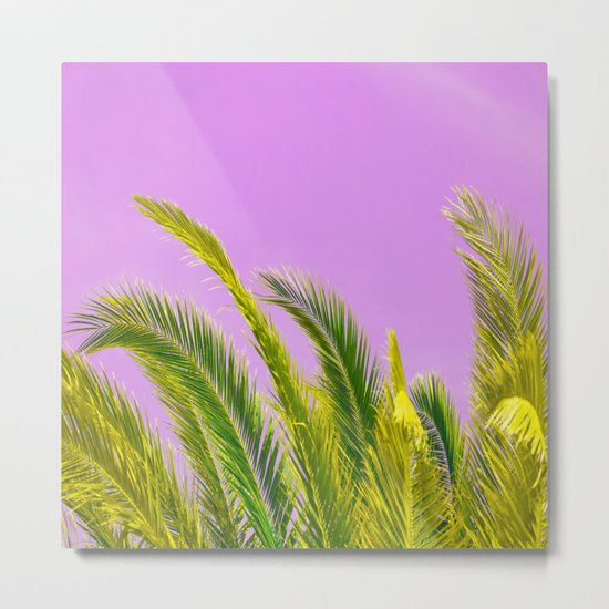 Green palm leaves on a pink background - #Society6 #Buyart Metal Print