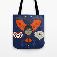 avatar Tote Bags featuring Spirited Avatar by Ashley Hay