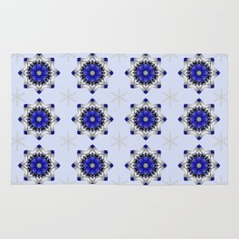 Magical snowflakes in blue, silver and grey Rug
