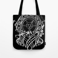 skyrim Tote Bags featuring Skyrim by Darkside-Shirts