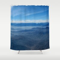 peru Shower Curtains featuring Blue in Peru by The Blonde Dutch Girl