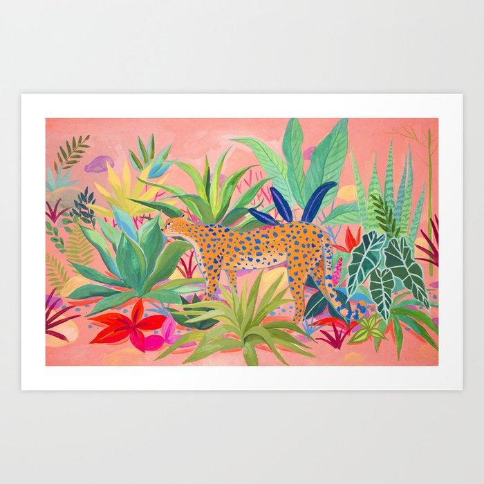 Leopard in Succulent Garden Art Print
