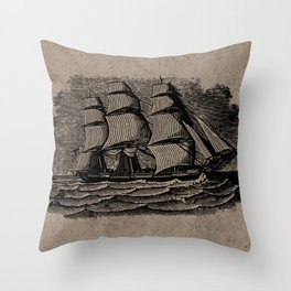Vintage Sailing Ship - Antique Book Plate Etching - Retro Style Brown and Black Throw Pillow