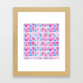 Bubble Gum Watercolor Triangles Framed Art Print