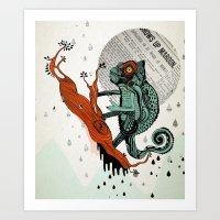 chameleon Art Prints featuring CHAMELEON by taniavisual