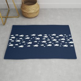 Fish Stripe 3 . Minimalist Mid-Century Modern Fish School in White on Nautical Navy Blue Solid Rug