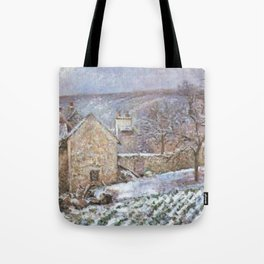 Snow At The Hermitage Pontoise 1874 By Camille Pissarro | Reproduction | Impressionism Painter Tote Bag
