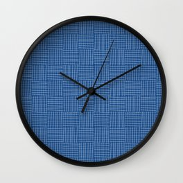 Plaid hatch in square - classic blue Wall Clock