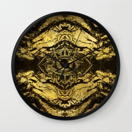 All Seeing eye golden texture on aged wood Wall Clock