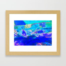 Tropical Electric Blue Abstract Digitally Enhanced Painting Photograph Framed Art Print