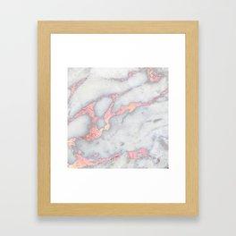 Rosegold Pink on Gray Marble Metallic Foil Style Framed Art Print