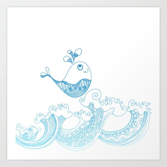 Doodle fish jumping out of the water- Maritime Sea Animal Art Print