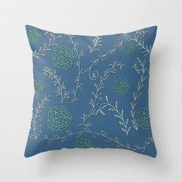 Vintage green and of white roses and leaves Throw Pillow