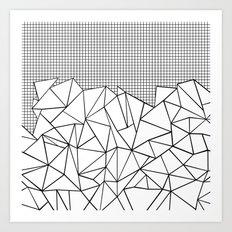 Abstract Outline Grid Black on White Art Print