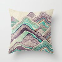 minerals Throw Pillows featuring Hillside by rskinner1122