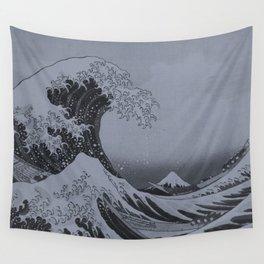 Silver Japanese Great Wave off Kanagawa by Hokusai Wall Tapestry