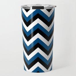 Blue White and Black Chevrons Travel Mug