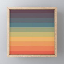 Colorful Retro Striped Rainbow Framed Mini Art Print