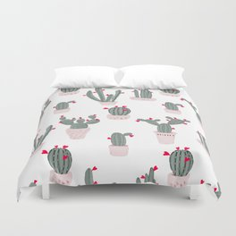 Love in the Desert Cacti Pattern Duvet Cover