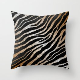 Ripped SpaceTime Stripes - Bronze/White Throw Pillow