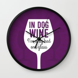 Dog Wine One Glass Wall Clock
