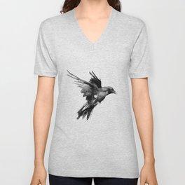 Flying Raven. tribal raven lover black and white raven decor Unisex V-Neck