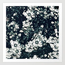 Green, Black, and White Abstract Floral Print Art Print